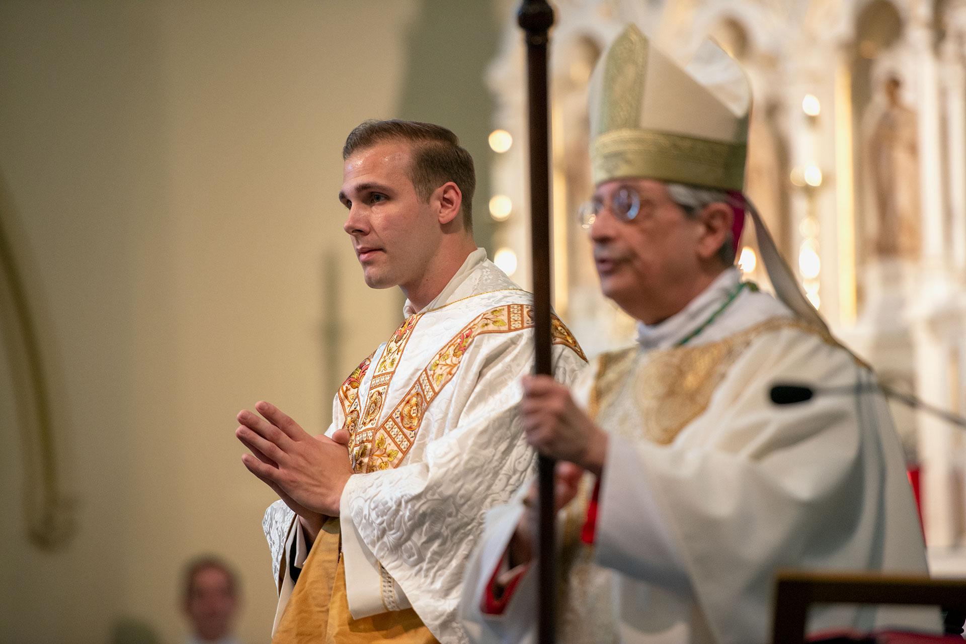 Father Martuscello stands with Bishop Salavtore R. Matano.