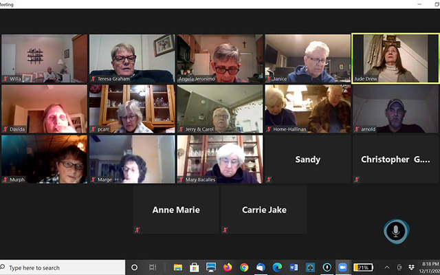 <p>The rosary is said over video call. (Screenshot courtesy of Angela Jeronimo)  </p>