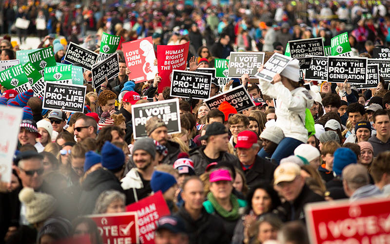 <p>People gather during the annual March for Life rally in Washington Jan. 24, 2020. (CNS photo by Tyler Orsburn)  </p>