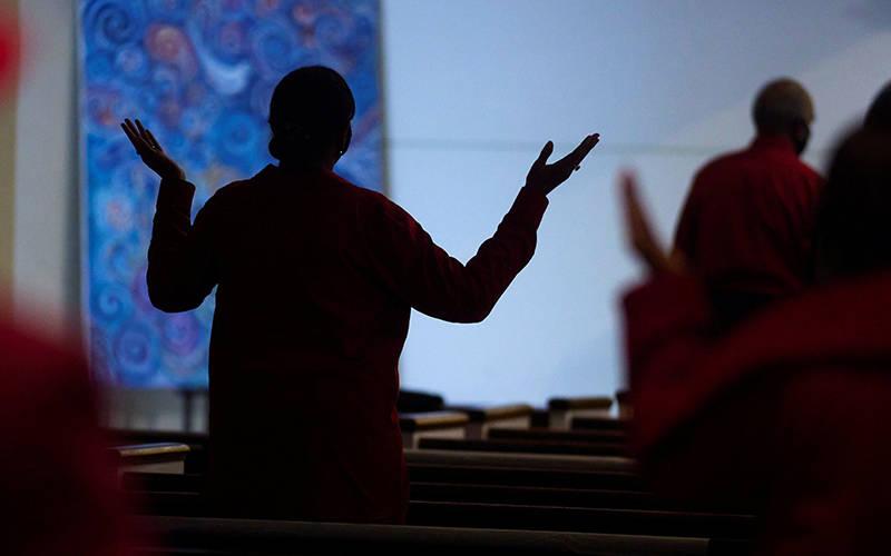 <p> People pray during Mass at SS. Peter and Paul Catholic Church in Atlanta Feb. 14, 2021, amid the coronavirus pandemic. </p>