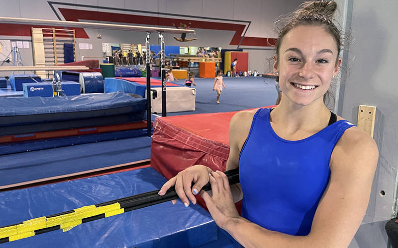 <p>U.S. women&rsquo;s gymnastics Olympic team member Grace McCallum, a member of St. Elizabeth Ann Seton Parish in Isanti, Minn., takes a break from training at the Twin Cities Twisters gym in Champlin, Minn., July 1, 2021. (CNS photo by Dianne Towalski/The Central Minnesota Catholic)  </p>