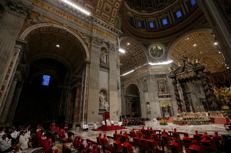 Pope Francis leads a prayer in St. Peter's Basilica at the Vatican in this file photo.