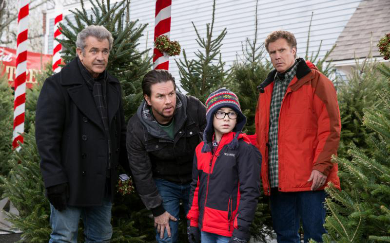 "Mel Gibson, Mark Wahlberg, Owen Wilder Vaccaro and Will Ferrell star in a scene from the movie ""Daddy's Home 2.""  (CNS photo by Paramount)"