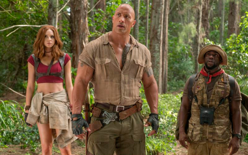 """Karen Gillan, Dwayne Johnson and Kevin Hart star in a scene from the movie """"Jumanji: Welcome to the Jungle."""" (CNS photo by Sony)"""