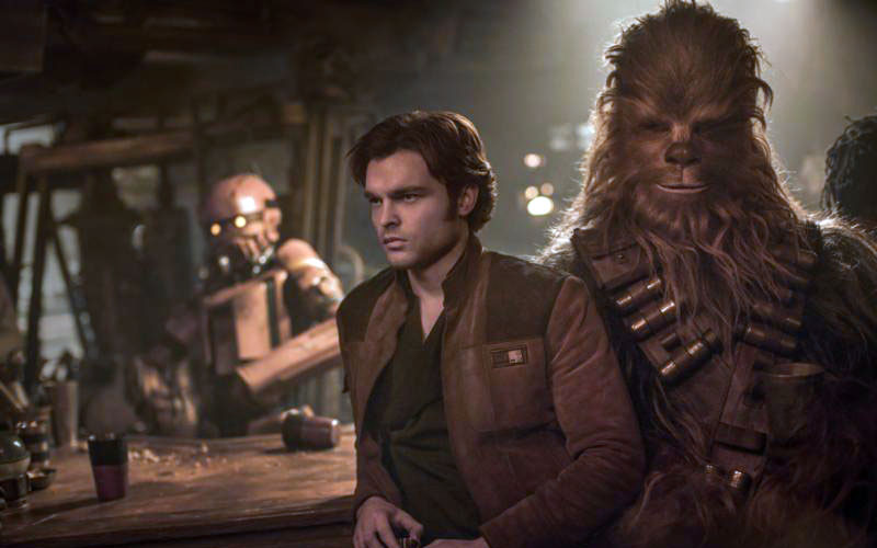 "Alden Ehrenreich plays Han Solo and Joonas Suotamo plays Chewbacca in a scene from the movie ""Solo: A Star Wars Story."" (CNS photo by Disney)"