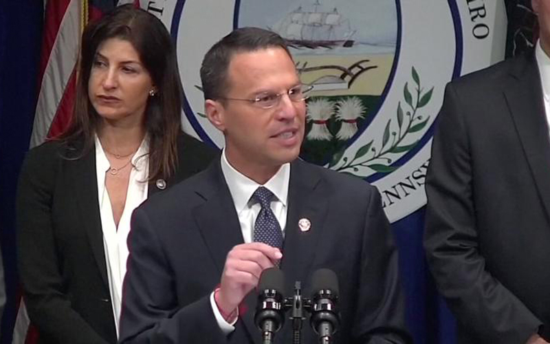 In a screen grab taken from video, Pennsylvania Attorney General Josh Shapiro speaks during an Aug. 14 news conference to release a grand jury on a months-long investigation into abuse claims spanning a 70-year period in the dioceses of Harrisburg, Pittsburgh, Scranton, Allentown, Greensburg and Erie. (CNS photo by Reuters video)