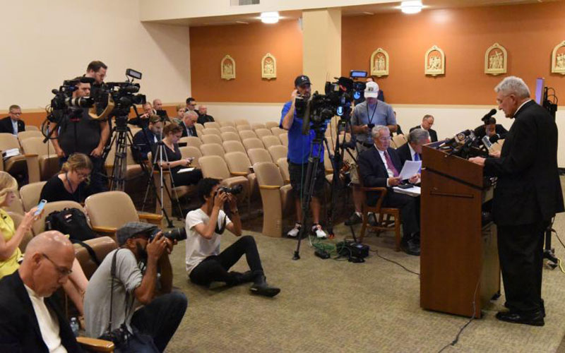 10.26.2018  Bishop David A. Zubik of Pittsburgh addresses the media Aug. 14 at the pastoral center in Pittsburgh. (CNS photo by Chuck Austin/Pittsburgh Catholic)