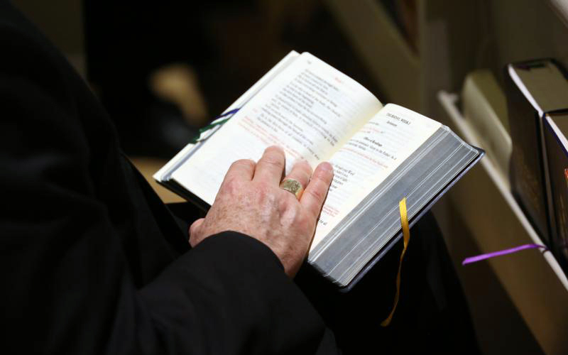 A bishop holds a prayer book during a service in the Chapel of the Immaculate Conception at Mundelein Seminary Jan. 2 at the University of St. Mary of the Lake in Illinois, near Chicago. The U.S. bishops began their Jan. 2-8 retreat at the seminary, suggested by Pope Francis in September, which comes as the bishops work to rebuild trust among the faithful as questions continue to revolve around their handling of clergy sex abuse. (CNS photo by Bob Roller)
