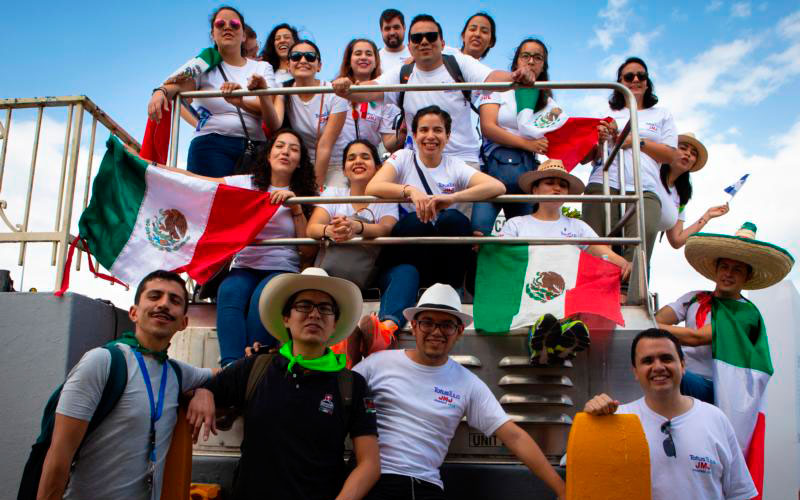 Pilgrims from Mexico pose for a group photo during a tour of the Panama Canal near Panama City Jan. 21, the day before the official opening of World Youth Day in Panama. (CNS photo by Chaz Muth)