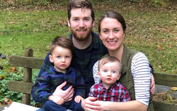 Matthew Blake is seen in this family portrait with wife Grace and their two sons.