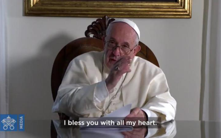 Pope Francis is pictured in a Nov. 22, 2019, screen grab sending a message to attendees of the National Catholic Youth Conference in Indianapolis.