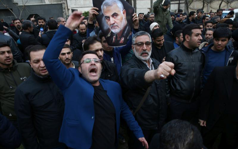 Demonstrators react during a Jan. 3, 2020, protest in front of U.N. offices in Tehran, Iran, after Iranian Maj. Gen. Qassem Soleimani was killed in a U.S. drone airstrike at Baghdad International Airport earlier that day.