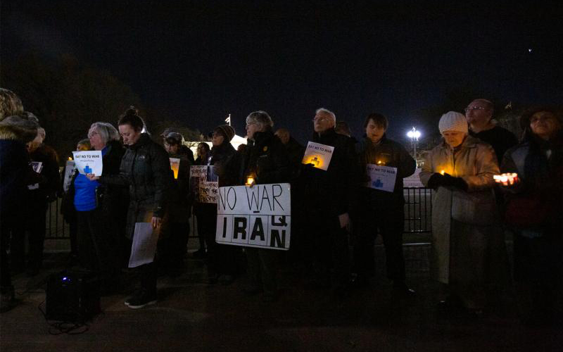 People gathered Jan. 6, 2020 near the White House in Washington during a candlelight vigil to call for peaceful solutions to rising tensions between the United States and Iran.