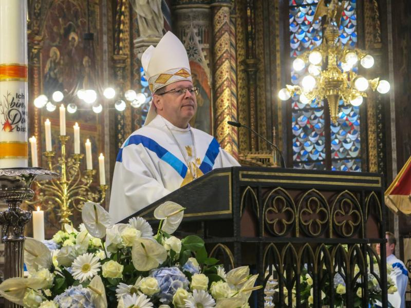 Limburg Bishop Georg Batzing, president of the German bishops' conference, celebrates one of the first public services in the Basilica of Our Lady in Kevelaer May 1, 2020, as churches began reopening during the COVID-19 pandemic.