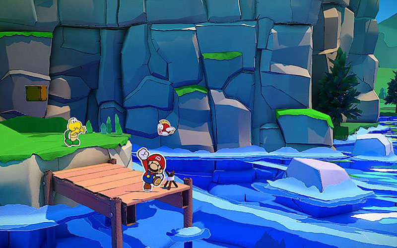 """This is a scene from the video game """"Paper Mario: The Origami King."""""""