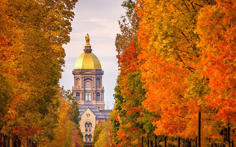 The University of Notre Dame in Indiana is seen in this 2019 file photo.