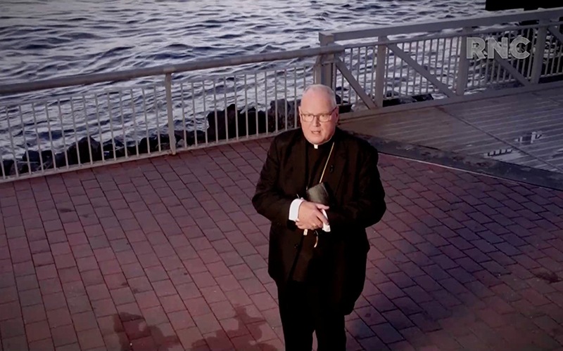 New York Cardinal Timothy M. Dolan delivers the opening prayer by video feed during the Republican National Convention broadcast from Washington Aug. 24, 2020.