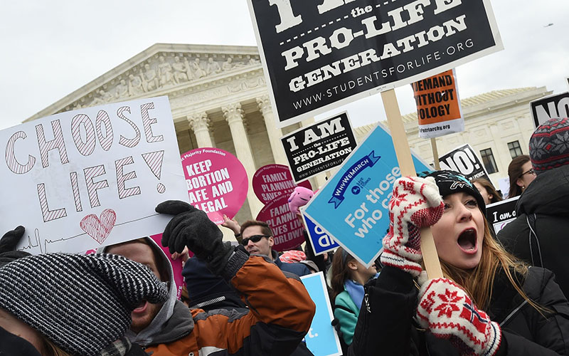 Pro-life advocates gather outside the U.S. Supreme Court Jan. 27, 2017, during the annual March for Life in Washington.