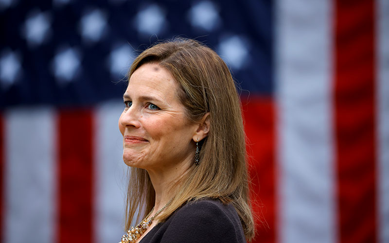 Federal Judge Amy Coney Barrett of the 7th Circuit is seen at the White House Sept. 26, 2020.