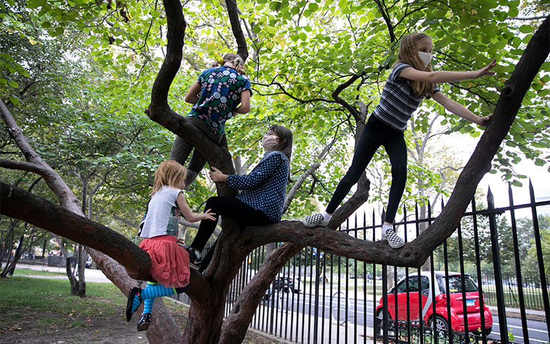 Children in the Brooklyn borough of New York City play after their first day of in-person school Oct. 1, 2020.