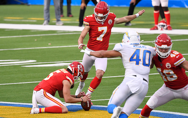 Kansas City Chiefs kicker Harrison Butker kicks the game-winning 58-yard field goal against the Los Angeles Chargers during overtime at SoFi Stadium in Inglewood, Calif., Sept. 20, 2020.