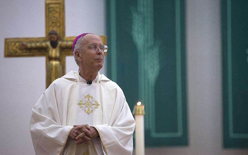 Bishop Mark J. Seitz of El Paso, Texas, celebrates Mass at St. Pius X Church in El Paso Sept. 23, 2019.