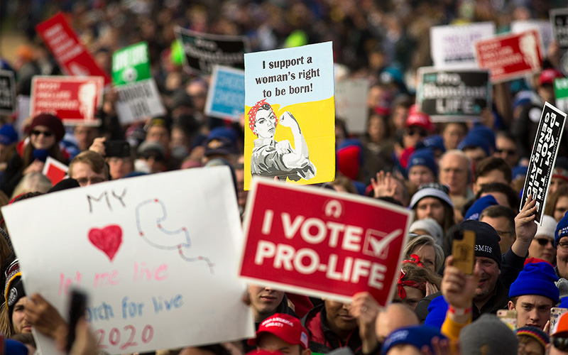 People gather during the annual March for Life rally in Washington Jan. 24, 2020.