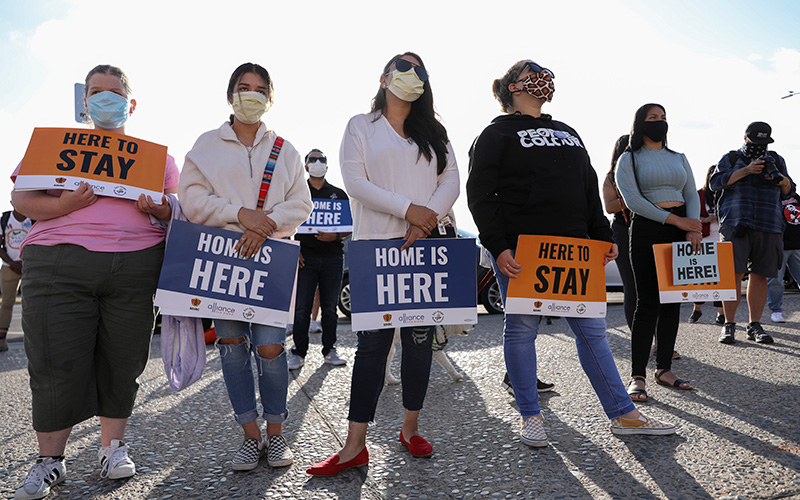 Demonstrators in San Diego rally in support of the Deferred Action for Childhood Arrivals program June 18, 2020.