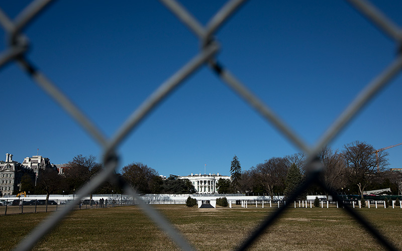 The White House is seen in Washington Jan. 9, 2021.