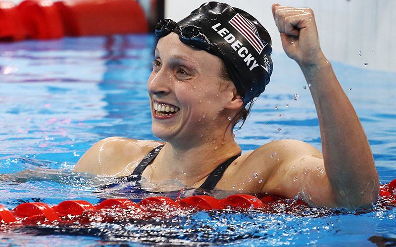 Katie Ledecky reacts after winning and setting a new world record during the 2016 Olympic women's 800-meter freestyle final in Rio de Janeiro.