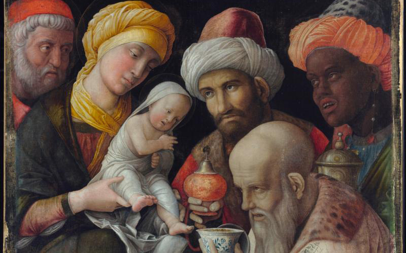 "This is an image of Italian artist Andrea Mantegna's 15th-century painting ""Adoration of the Magi."""