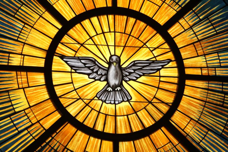 The Holy Spirit, traditionally depicted as a dove, is pictured in a stained-glass window at St. John Vianney Church in Lithia Springs, Ga.