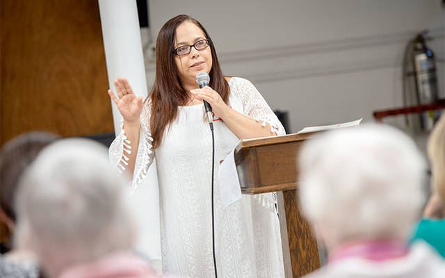 <p>During a May 9 event at Our Lady of the Americas Church in Rochester, Virgen Lop&#233;z speaks about her experiences in Puerto Rico following Hurricane Maria and her decision to flee the island.  </p>