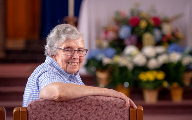 <p>Sister of Mercy Anne Marie Mathis spent 32 years as a missionary in Chile. (Courier photo by Jeff Witherow) </p>