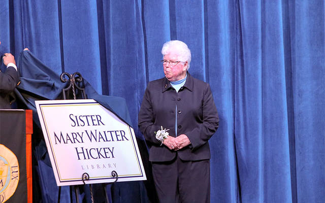 <p>On May 31, Elmira Notre Dame High School named its library in honor of Sister of Mercy Mary Walter Hickey, who has served the school for 47 years. (Photo courtesy of Elmira Notre Dame High School)  </p>