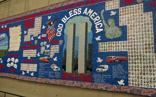 <p>A quilt on display inside the 9/11 Museum and Memorial in New York City. </p>