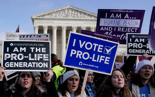 Pro-life supporters rally outside the U.S. Supreme Court