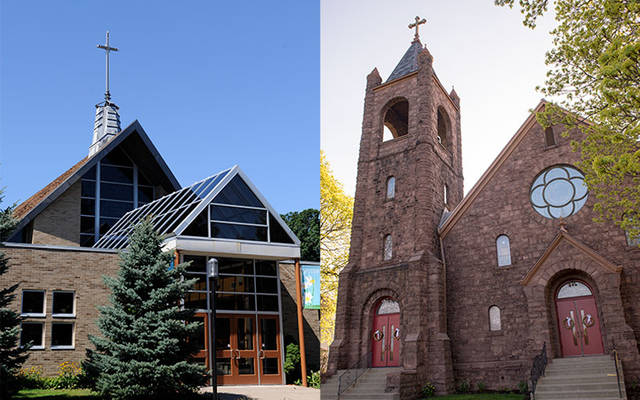 <p>St. Helen Church (left) and Holy Ghost Church in the Town of Gates will close in June 2020. (File photos)  </p>