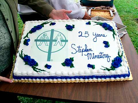 A cake commemorating 25 years of Stephen Ministry in Tioga County was made for Blessed Trinity/St. Patrick parishes' picnic and Mass held Sept. 12 in Apalachin.