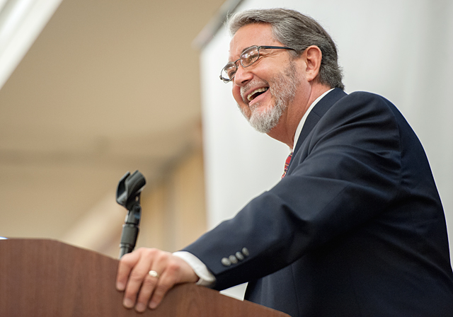 Dr. Scott Hahn, an author and professor at the Franciscan University of Steubenville, speaks during the Gathering of the Ministerium May 4 at the DoubleTree by Hilton Hotel in Henrietta.
