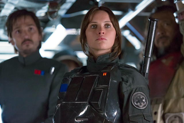 "Felicity Jones and Jiang Wen star in a scene from the movie ""Rogue One: A Star Wars Story."" The Catholic News Service classification is A-II -- adults and adolescents. The Motion Picture Association of America rating is PG-13 -- parents strongly cautioned. Some material may be inappropriate for children under 13."