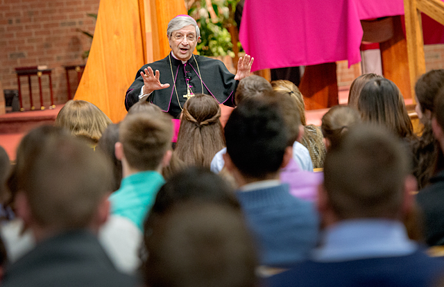 Bishop Salvatore R. Matano speaks directly to the Class of 2016 during the Hands of Christ Awards at St. Lawrence Church March 1.