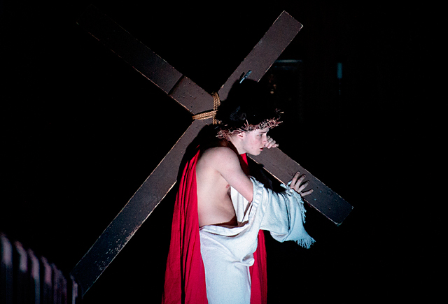Chris Newhook, a member of The Franciscan Mystery Players, plays the role of Jesus during a Living Stations of the Cross performance at Victor's St. Patrick Church in March 2015.