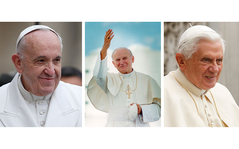 Pope Francis, St. John Paul II and retired Pope Benedict XVI are pictured in a composite photo.