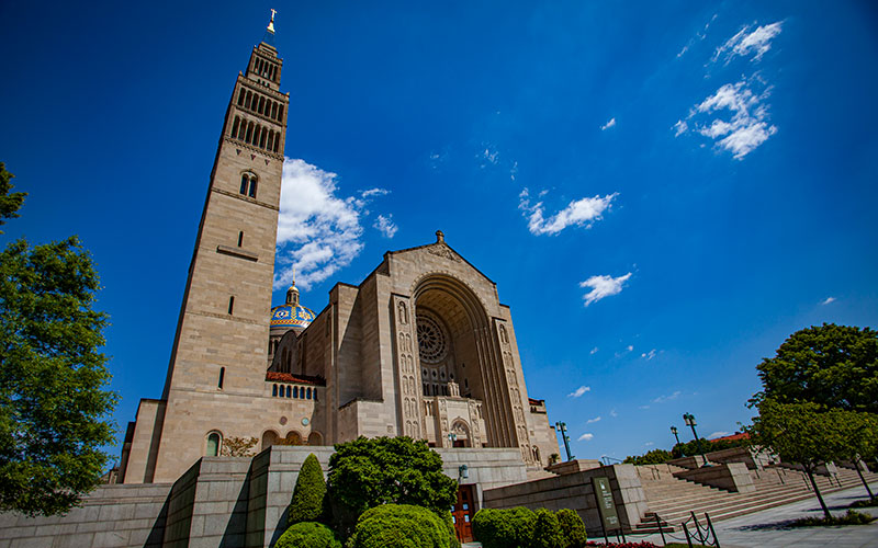 The Basilica of the National Shrine of the Immaculate Conception in Washington is seen in a relatively quiet state May 13, 2020, since it's temporarily closed amid the COVID-19 pandemic.