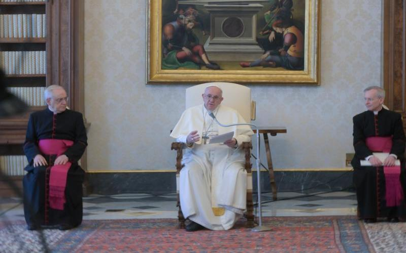Pope Francis speaks at Apostolic Palace at the vatican