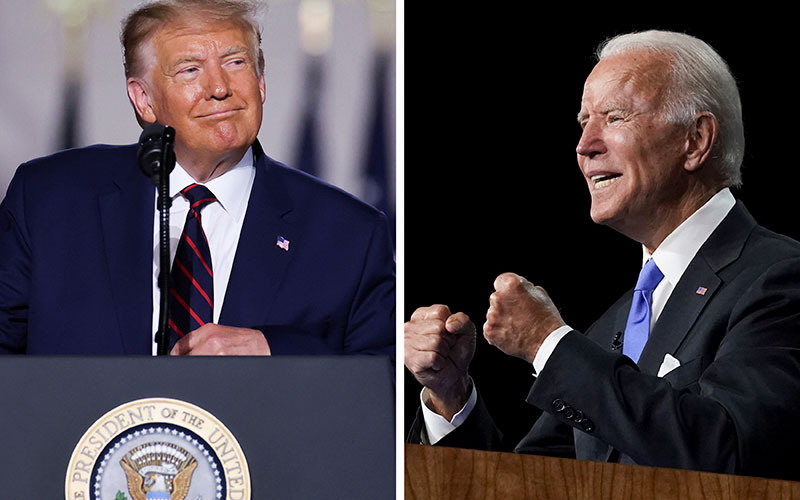 President Donald Trump and Democratic presidential candidate Joe Biden are seen during their respective 2020 nominating conventions.