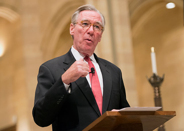 John Garvey, president of Catholic University of America in Washington, D.C., speaks about religious liberty during the annual Catholic Courier lecture series Sept. 15 at Rochester's Sacred Heart Cathedral.