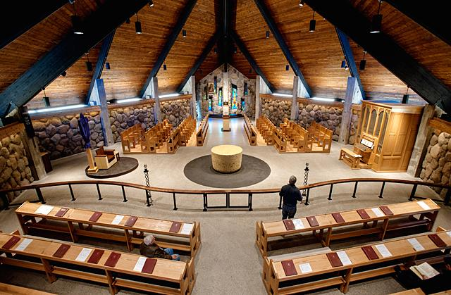 The interior of the church at the Abbey of the Genesee seen in 2015. (Courier file photo)