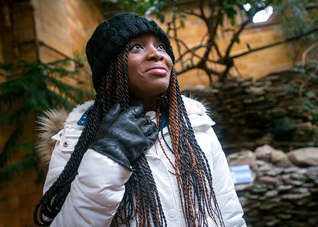 Shana Campbell takes a tour of Rochester's Seneca Park Zoo during a visit on Jan. 4, 2016.